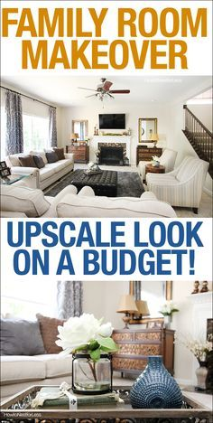 Family room makeover with neutrals and charcoal gray blue.... on a budget! Get the rich, luxurious look for less!
