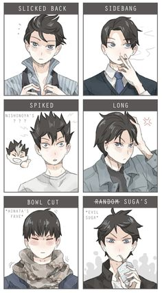 Kageyama with different hair styles.... DAM ^_^