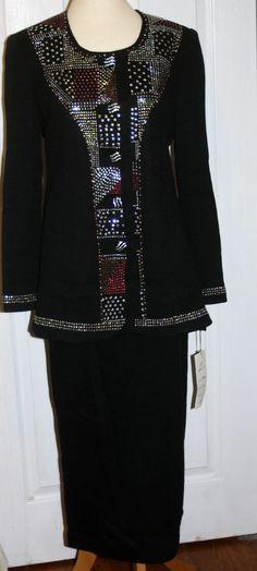 Liorah size 8 new lined beaded suit knit pink & silver  black boutique jacket #Liorah #SkirtSuit