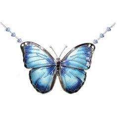 Blue Morpho Butterfly Crystal Necklace Butterfly Gifts, Butterfly Wedding, Butterfly Earrings, Butterfly Pendant, Morpho Butterfly, Blue Morpho, Largest Butterfly, Crystal Necklace, Sterling Silver Chains