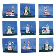 AUTHENTIC #BATIK ART ~Lighthouse packet, contains 9 - 6 x 6 inch batik squares.  These authentic batik art panels have un-finished edges and can be used in quilt making, clothing projects or mini wall art hangings. #sewing #quilting