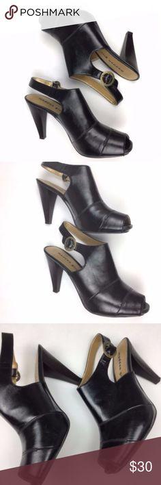 "Madden Girl 'Metrro' black heel booties Madden Girl 'Metrro' black heel booties open back open toe size 7.5 Heel: 3.5"" Style is ""Metrro"" mandmade material minor signs of wear Madden Girl Shoes Heels"