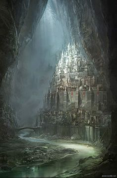 Encanttraa, cidade dos Maculados; elfos sombrios cuja rainha é uma vampira