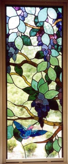 Hummingbirds and Wisteria :: Stained Glass