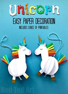Easy 3D Paper Unicorn Decoration - Awww paper crafts for kids are so fun and so easy. All you need for these OH SO CUTE 3D Unicorn Baubles, is one sheet of A4 paper and some scraps of coloured paper (or some pens!). Alternatively make use of our handy free printables - there are 3 versions - templates, colour yourself or CUT and ASSEMBLE. Just so CUTE! Love.