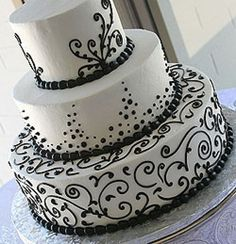 Beautiful black and white 3-tier wedding cake. Chocolate, obviously.