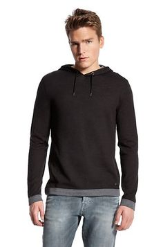 Digging the Contrast Trim Hoodie by BOSS Orange...  but why does the kid look so damn sad... over it!
