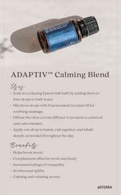 CLICK VISIT to purchase. Adaptiv Calming Blend oil is perfect for life's most stressful moments. Useful when a big meeting is coming up, or for other important events, Adaptiv Calming Blend helps improve sustained attention while easing the body and mind. Helichrysum Essential Oil, Essential Oil Diffuser Blends, Doterra Essential Oils, Natural Essential Oils, Doterra Oils, Oil Benefits, Aromatherapy Oils, Living Oils, Young Living