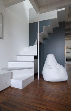 Slim white staircase