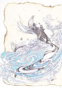 山田章博「BEAST of EAST~東方眩暈録~」 BEAST of EAST by Akihiro Yamada Mermaid Illustration, Watercolor Illustration, The Twelve Kingdoms, Character Art, Character Design, Carnival Of The Animals, Drawing Sketches, Drawings, Mermaid Art