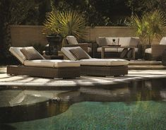 The 3 Piece Coronado Wicker Chaise Lounge Set from Sunset West. Outdoor Daybed, Outdoor Decor, Sunset West, Outdoor Seating Areas, Backyard, Patio, Color Tile, Sun Lounger, Wicker
