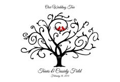 Thumbprint Wedding Tree Guestbook Love Birds by WillowTreeArtworks