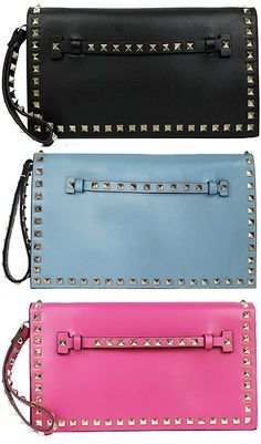 Lush Leather Punk Studded Flap Clutch in black, blue and pink, $99.99 (Valentino Rockstud dupes)