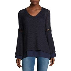 Design Lab Lord & Taylor V-Neck Mock Layer Sweater ($35) ❤ liked on Polyvore featuring tops, sweaters, navy, navy top, navy blue sweater, navy sweater, mock layer sweater and navy v neck sweater