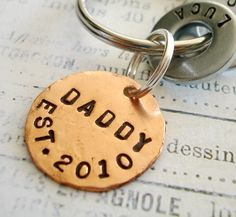 Gift for DADDY - DAD - PAPA - Personalized Hand Stamped Key Chain - Washer Key Chain and Copper Disc. $20.45, via Etsy.