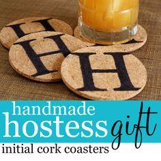 Semi-Handmade Hostess Gift initial cork coasters