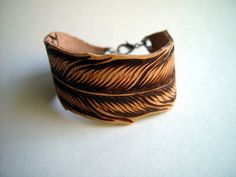 Hand Burned Leather Feather Bracelet