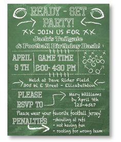 Football Party Invitation Football game appetizer invitation