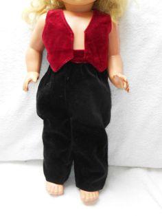 Puppenkleidung-Samt-2-teilig-Weste-Hose-fuer-alte-Puppen-od-Zelluloidpuppen