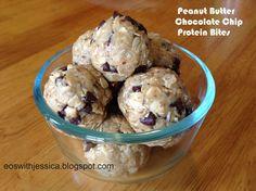 Peanut Butter Chocolate Chip Protein Bites using doTERRA v shake powder! Gluten free, no bake snack.