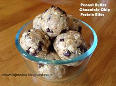 Peanut Butter Chocolate Chip Protein Bites using doTERRA v shake powder! Gluten free, no bake snack.