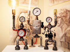 Retro robot art desk lamp made of industrial parts Retro robot art desk lamp made of industrial parts Etsy Steampunk Artwork, Steampunk Lamp, Industrial Interior Design, Industrial Interiors, Art Desk, Desk Lamp, Table Lamps, Metal Robot, Vintage Robots