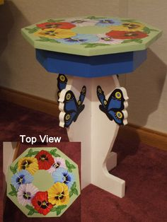 Hand-painted and hand crafted small pansy table