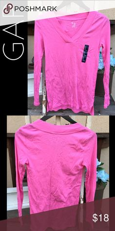 COMFY Soft V-Neck Basic Tee Super soft and comfortable basic t-shirt. Perfect pink color to wear alone or layered! NWT. GAP Tops Tees - Long Sleeve