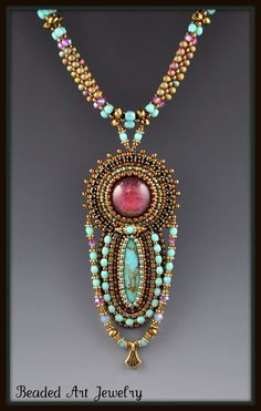 Bead embroidered necklace focal piece