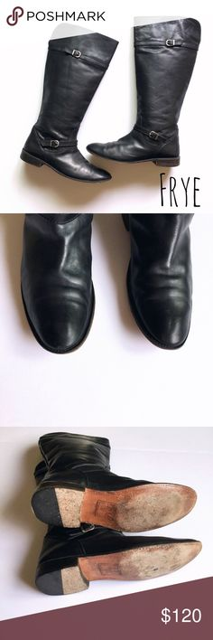 FRYE Tall black riding boots size 10 FRYE Tall black riding boots size 10. Unfortunately these are a re-posh. I'm so sad because these are such amazing boots. But I couldn't get my fat feet in them. Open to offers! Frye Shoes Combat & Moto Boots