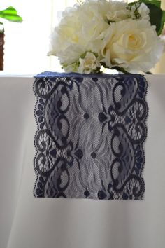 Navy Lace Table Runner wide Last ones/ Cut lace not hemmed/ We. Navy Lace Table Runner wide Last ones/ Cut lace not hemmed/ Wedding decor/Wedding reception/ Bridal shower/Free sample swatch Diy Lace Table Runner, Lace Runner, Wedding Reception Table Decorations, Wedding Table Settings, Reception Ideas, Decor Wedding, Wedding Receptions, Table Wedding, Garden Wedding