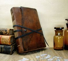 Leather books and amber jars