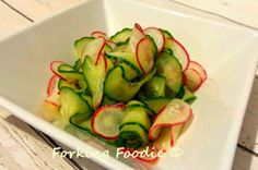 Cucumber-radish pickles - simple, quick, Japanese side dish - delicious with teriyaki chicken or grilled aubergines with miso, yakitori or kushiyaki skewers etc. and only 14 calories per serving.