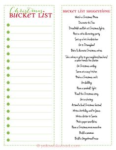 Free Printable - Christmas Bucket List with Activity Suggestions. Print and fill out the list using your own traditions or the offered suggestions!