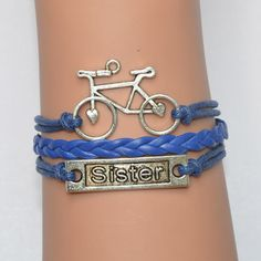 Sisters bracelet, bicycle bracelet,wedding bracelets, adjustable bracelet, best sisters gifts, friendship gift by jl168jlpc