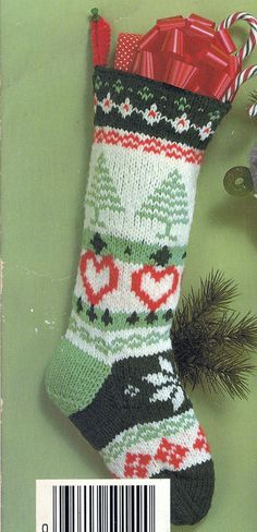 Knit Christmas Fair Isle Stocking Vintage Knitting PDF by padurns, $2.50