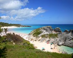 Horseshoe Bay, Bermuda.   Horseshoe Bay is perhaps the most famous beach in Bermuda. A very popular tourist spot, it lies on the main island's south (Atlantic Ocean) coast, in the parish of Southampton. The sand of the beach is very fine and displays a pink tint. The beach is equipped with one lifeguard station which is manned during the summer between 10 AM and 6 PM.