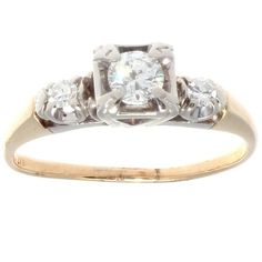 14K Gold Diamond Engagement Ring, 0.20 cts