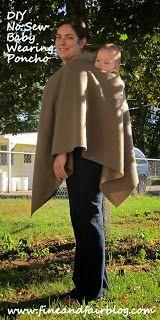 Fine and Fair: DIY No Sew Babywearing Poncho Coat