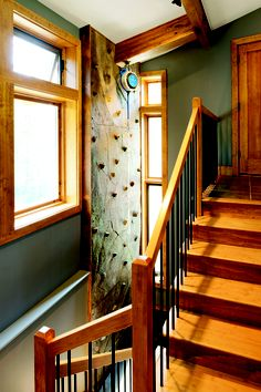 Rock climbing wall. Photo by Craig Thompson. Story: Happy & Healthy, www.housetrends.com