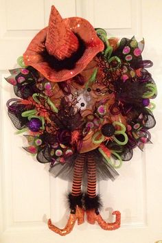 Orange witch deco mesh wreath on Etsy, $59.00