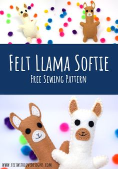 Sew a felt llama softie with this FREE PATTERN! The stuffed llama pattern includes all the steps you need to add one (or a few) to your collection today! Do you know the difference between llamas and alpacas? A felt llama and felt alpaca are pretty similar but there are actually some interesting differences between to two trendy animals. #trendyanimals #felt #sewing #freepattern Animal Sewing Patterns, Felt Patterns, Sewing Patterns Free, Free Pattern, Sewing Ideas, Crochet Patterns, Diy Handmade Toys, Handmade Felt, Softie Pattern