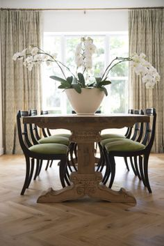 Michele Throssell Interiors > Dining Room > Subtle Sophistication > Antique > Orchids Dining Chairs, Dining Room, Dining Table, Orchids, Interiors, Touch, Antiques, Green, Furniture