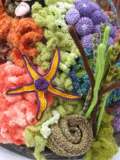 Crochet Coral Reef – Page 2 – Knit Crochet Stitch Play Crochet Starfish, Crochet Fish, Freeform Crochet, Crochet Art, Crochet Motif, Irish Crochet, Crochet Flowers, Free Crochet, Crochet Patterns