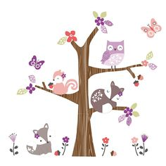 This super cute wall art with darling little woodland animals coordinates with a bedding set, a lamp, and other decorative accessories for a baby nursery.