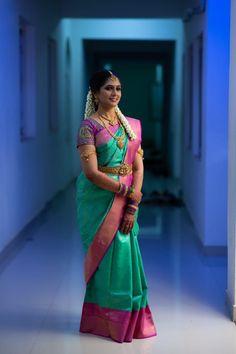 Three Beautiful Wedding Looks That You'll Absolutely Love! South Indian Wedding Saree, Indian Wedding Bride, Wedding Silk Saree, Half Saree Designs, Silk Saree Blouse Designs, Bridal Blouse Designs, Indian Silk Sarees, Indian Beauty Saree, Floral Skirt Outfits