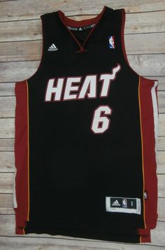 Adidas NBA Jersey Miami Heat LeBron James #6 Black Embroidered Size S +2 #adidas #MiamiHeat