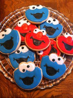 Elmo & Cookie Monster cookies-Nolan's 2nd Birthday