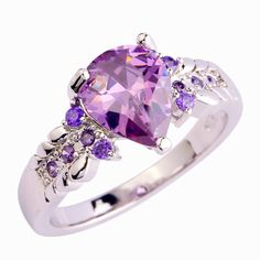 lingmei Fashion Jewelry Rings for Women Lady Purple Champagne Red Pink CZ Silver Color Ring Size 6 7 8 9 10 Wholesale Cheap Silver Rings, Color Ring, White Sapphire, Silver Color, Gifts For Women, 925 Silver, Jewelry Gifts, Amethyst, Fashion Jewelry