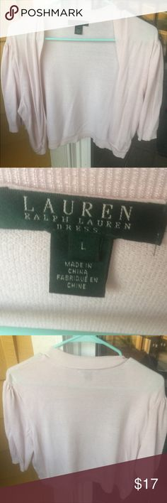 Ralph Lauren Cropped Cardigan This cropped cardigan from Ralph Lauren is adorable! It is perfect for work or even with jeans! It is light pink. Size L, runs true to size. No visible wear Ralph Lauren Sweaters Cardigans